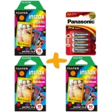 3 Packungen Fuji Instax Mini Film Rainbow Sofortbildkamera Film + Pack Panasonic Pro-Gold-AA-Batterien (30x Sofortbild Film mit dekorativen Borders & 4 x AA Batterien) - 1
