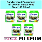 Bundle von 5 Packungen mit 20 Film Instax wide. Total 100 films - 1