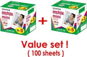 Fujifilm Instax Mini Sofortbildfilm, 10 Blatt -, 5Pack x, 2 Packungen (insgesamt 100 Blatt) Sparset (Japan Original Discription von Lebensmitteln mit Werte) - 1