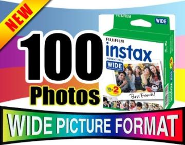 Fujifilm Sofortbildfilm Wide-Bundle für Fujifilm Instax 210 Kamera, 5 x 20 Blatt (insgesamt 100 Fotos) - 2