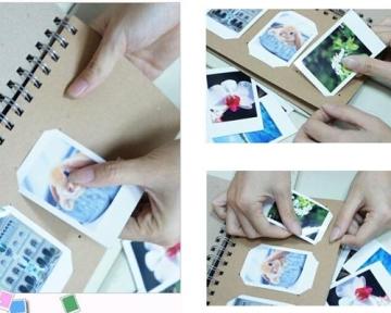 Retro Fotoalbum für Fujifilm Instax Mini Films Fotobuch DIY Pappe Foto Album Gästebuch Blanko Spiralalbum Photoalbum - Rahmen - 2