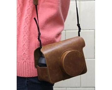 Retro PU Leder Kameratasche Ledertasche Schutztasche Schutzhülle Kamerahülle Gehäuse Taschen mit Schultergurt für Fujifilm Instax WIDE 300 Kamera - Braun - 3