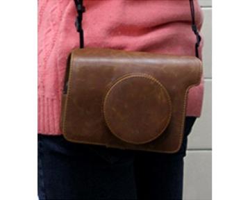 Retro PU Leder Kameratasche Ledertasche Schutztasche Schutzhülle Kamerahülle Gehäuse Taschen mit Schultergurt für Fujifilm Instax WIDE 300 Kamera - Braun - 4