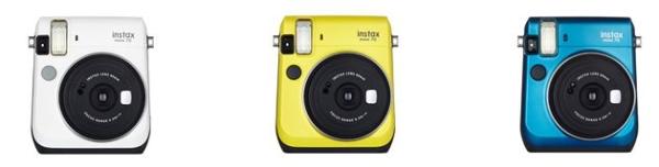 Instax Mini 70 in gelb, blau und weiß