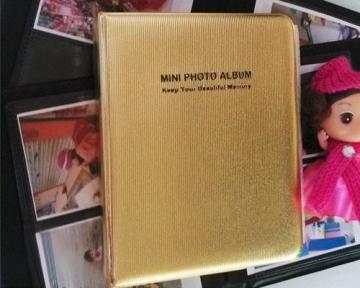 Mini Buch Art Fujifilm Instax Mini FotoAlbum Fotohüllen Speziell Für Fujifilm Instax Miini Film 7S/8/25/50/90 - 7.5 (L) x 9.7 (B), Golden - 2