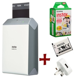 Bundle: Fuji Instax SHARE SP-2 Smartphone WiFi Portable Instant Photo Printer + 20 Instax Mini Prints + Spare NP-45 Battery and Mains / USB Charger ( Wireless Printer For iPhone iPad and Android, Print instant credit card sized photos from your phone or tablet wirelessly, personalise your prints with templates and styles ) -