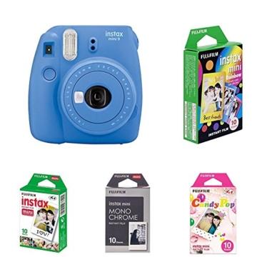 Fujifilm Instax Mini 9 Kamera cobalt blau mit Film Box -