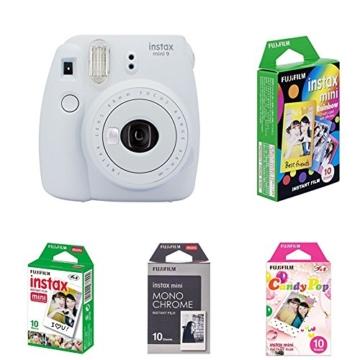 Fujifilm Instax Mini 9 Kamera smoky weiß mit Film Box -