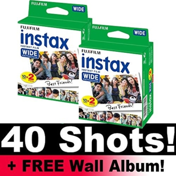 Fujifilm Instax Wide Film Bundle Pack (40 Aufnahmen) + Gratis Wand Album. -