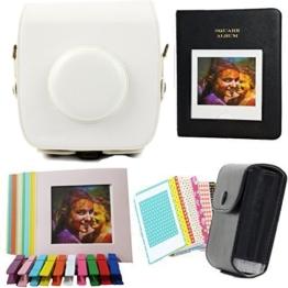 TaiYaun Kameratasche für Fujifilm Instax SQUARE SQ 10 Premium Kunstleder Schutzhülle (Kombination 5 in 1 ,Weiß) - 1
