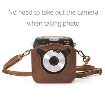 Tasche für Fujifilm Instax SQUARE SQ 10 Hybride Sofortbildkamera, Kameratasche PU-Leder klassische Retro-Schutzhülle mit verstellbarem Schultergurt von Hellohelio-Braun - 2