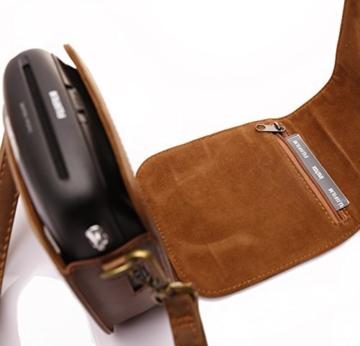 Tasche für Fujifilm Instax SQUARE SQ 10 Hybride Sofortbildkamera, Kameratasche PU-Leder klassische Retro-Schutzhülle mit verstellbarem Schultergurt von Hellohelio-Braun - 4