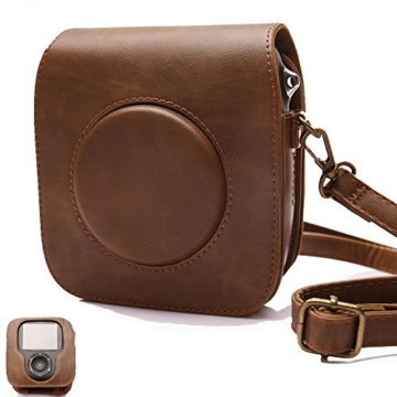 Tasche für Fujifilm Instax SQUARE SQ 10 Hybride Sofortbildkamera, Kameratasche PU-Leder klassische Retro-Schutzhülle mit verstellbarem Schultergurt von Hellohelio-Braun - 1