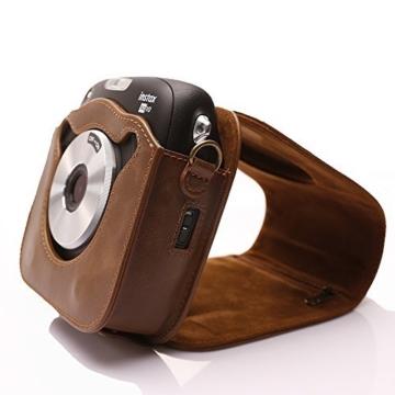 Tasche für Fujifilm Instax SQUARE SQ 10 Hybride Sofortbildkamera, Kameratasche PU-Leder klassische Retro-Schutzhülle mit verstellbarem Schultergurt von Hellohelio-Braun - 5