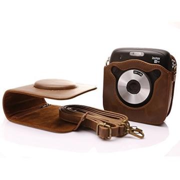 Tasche für Fujifilm Instax SQUARE SQ 10 Hybride Sofortbildkamera, Kameratasche PU-Leder klassische Retro-Schutzhülle mit verstellbarem Schultergurt von Hellohelio-Braun - 6