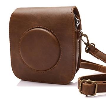 Tasche für Fujifilm Instax SQUARE SQ 10 Hybride Sofortbildkamera, Kameratasche PU-Leder klassische Retro-Schutzhülle mit verstellbarem Schultergurt von Hellohelio-Braun - 7