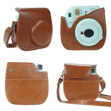 Anter 17 in 1 Instax Mini 9 Mini 8 Mini 8+ Zubehör für Fujifilm Instax Instant Film Kamera mit Etui / Stift / Aufkleber / Farbrahmen / Memo Clip / Tuch / Album / Selfie Objektiv / Filter / Armband - Retro Braun - 2