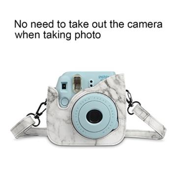 Fintie Tasche für Fujifilm Instax Mini 8/Mini 9 Sofortbildkamera - Premium Kunstleder Schutzhülle Reise Kameratasche Hülle Abdeckung mit Abnehmbaren Riemen, Marmor Muster - 2