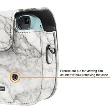 Fintie Tasche für Fujifilm Instax Mini 8/Mini 9 Sofortbildkamera - Premium Kunstleder Schutzhülle Reise Kameratasche Hülle Abdeckung mit Abnehmbaren Riemen, Marmor Muster - 3