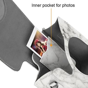Fintie Tasche für Fujifilm Instax Mini 8/Mini 9 Sofortbildkamera - Premium Kunstleder Schutzhülle Reise Kameratasche Hülle Abdeckung mit Abnehmbaren Riemen, Marmor Muster - 4