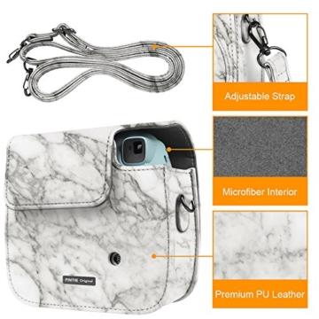 Fintie Tasche für Fujifilm Instax Mini 8/Mini 9 Sofortbildkamera - Premium Kunstleder Schutzhülle Reise Kameratasche Hülle Abdeckung mit Abnehmbaren Riemen, Marmor Muster - 5