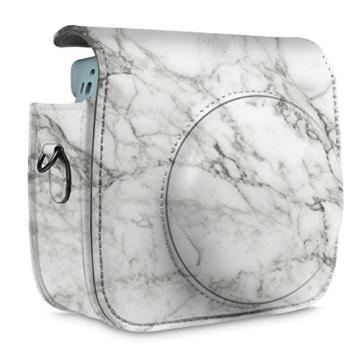 Fintie Tasche für Fujifilm Instax Mini 8/Mini 9 Sofortbildkamera - Premium Kunstleder Schutzhülle Reise Kameratasche Hülle Abdeckung mit Abnehmbaren Riemen, Marmor Muster - 6