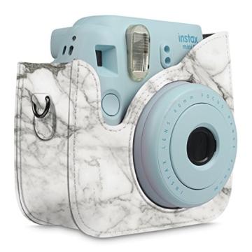 Fintie Tasche für Fujifilm Instax Mini 8/Mini 9 Sofortbildkamera - Premium Kunstleder Schutzhülle Reise Kameratasche Hülle Abdeckung mit Abnehmbaren Riemen, Marmor Muster - 8