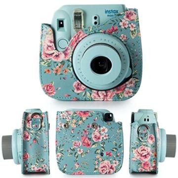 Flylther 8 in 1 Fujifilm Instax Mini 8 8+ 9 Kamera Zubehör Bundles Set - Blume(Kameratasche/ Album/Selfie Objektiv/6 Farbige Filter Linse/Wand Hängen Bilder/Bunt Film Frames/Film Aufkleber/DIY Film Aufkleber) - 3