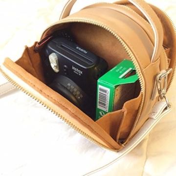 [Fujifilm Instax Mini Universal Tasche] - CAIUL Umfassenden Schutz Kameratasche mit Weichem PU Leder Material für Instax Mini 8 8+ 9 70 7s 25 26 50s 90 Kamera, Smartphone SP-1 Drucker (Beige) - 2