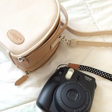 [Fujifilm Instax Mini Universal Tasche] - CAIUL Umfassenden Schutz Kameratasche mit Weichem PU Leder Material für Instax Mini 8 8+ 9 70 7s 25 26 50s 90 Kamera, Smartphone SP-1 Drucker (Beige) - 5