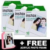 Fujifilm Instax Square Sofortbildfilm, 3er-Pack + gratis Acryl-Rahmen - 1