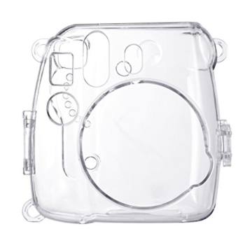 Goocor Kristall Kameratasche mit Verstellbarem Regenbogen Schultergurt und Objektivtuch für Fujifilm Instax Mini 9 / Mini 8 / Mini 8+ Instant Kamera - Transparent - 2