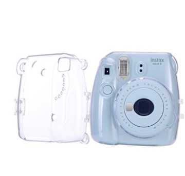 Goocor Kristall Kameratasche mit Verstellbarem Regenbogen Schultergurt und Objektivtuch für Fujifilm Instax Mini 9 / Mini 8 / Mini 8+ Instant Kamera - Transparent - 4