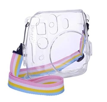 Goocor Kristall Kameratasche mit Verstellbarem Regenbogen Schultergurt und Objektivtuch für Fujifilm Instax Mini 9 / Mini 8 / Mini 8+ Instant Kamera - Transparent - 1