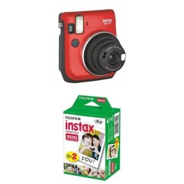 Instax Mini 70 Caméra instantané Rouge + Fujifilm - Twin Films pour Instax Mini - 86 x 54 mm - Pack 2 x 10 Films - 1