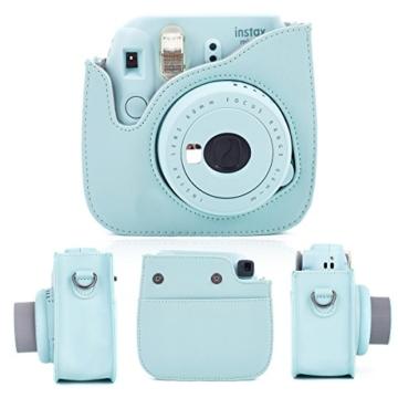 Leebotree Fujifilm Instax Mini 9 Tasche, Schutztasche aus Weichem Kunstleder mit Schulterriemen und Tasche für Fujifilm Instax Mini 8 8+/Mini 9 Sofortbildkamera (Ice Blau) - 2