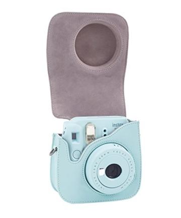 Leebotree Fujifilm Instax Mini 9 Tasche, Schutztasche aus Weichem Kunstleder mit Schulterriemen und Tasche für Fujifilm Instax Mini 8 8+/Mini 9 Sofortbildkamera (Ice Blau) - 3