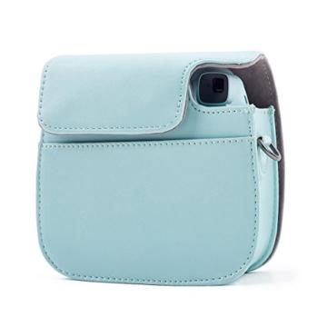 Leebotree Fujifilm Instax Mini 9 Tasche, Schutztasche aus Weichem Kunstleder mit Schulterriemen und Tasche für Fujifilm Instax Mini 8 8+/Mini 9 Sofortbildkamera (Ice Blau) - 5