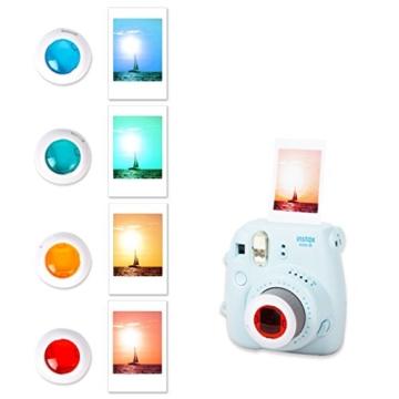 Leebotree Fujifilm Instax Mini 9 Zubehör, 10 in 1 Kamerapaket beinhaltet Kameratasche/Album/Selfielinse/Farbige Filter/Wandfotorahmen/Filmrahmen/Rahmenaufkleber/Eckaufkleber/Markierstift (Ice Blau) - 3