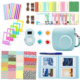 Leebotree Fujifilm Instax Mini 9 Zubehör, 10 in 1 Kamerapaket beinhaltet Kameratasche/Album/Selfielinse/Farbige Filter/Wandfotorahmen/Filmrahmen/Rahmenaufkleber/Eckaufkleber/Markierstift (Ice Blau) - 1