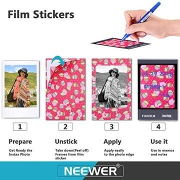 Neewer 23-in-1 Aufkleber und Rahmen Zubehör-Set für Fujifilm Mini Instax 7 7s 70 8 8+/9 25 90 und 50s, Inklusive: Fotoalben, Aufkleberpapiere, Filmtafelrahmen und Hängesysteme - 6
