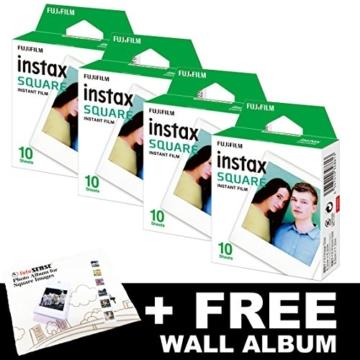 Fujifilm Instax FILM Bundle Pack (40Aufnahmen) + Gratis, quadratisch Album - 1