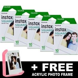 Fujifilm Instax quadratisch Instant Film (50Aufnahmen) + Gratis Acryl Rahmen - 1
