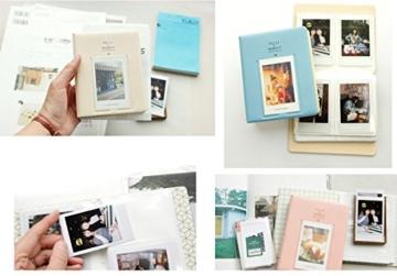 Fetoo 64 Taschen Mini Album Schutzhülle Foto Album Fotohüllen für Mini Fujifilm Instax Miini Film 7S/8/25/50/90, 14 * 11cm (Blau) - 5