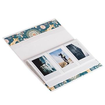 JZK 2 x Taschen mini Fotoalbum, 9 x 6,3cm, 14 Seiten, mini klein Bilder Album für Fujifilm Instax Mini 7s 8 25 90 50s & Polaroid Snap PIC-300 Z2300 Zip (Wald blau + weiß) - 4