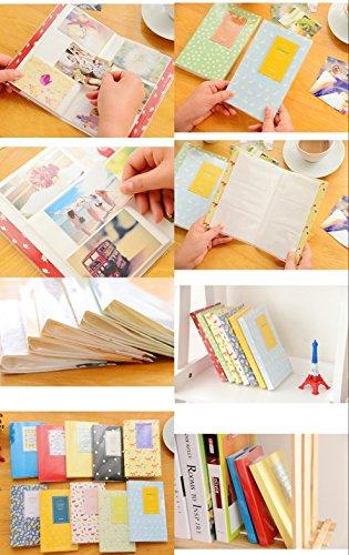 JZK 2 x Taschen mini Fotoalbum, 9 x 6,3cm, 14 Seiten, mini klein Bilder Album für Fujifilm Instax Mini 7s 8 25 90 50s & Polaroid Snap PIC-300 Z2300 Zip (Wald blau + weiß) - 6