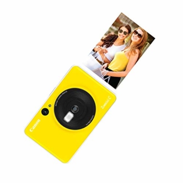 Canon Zoemini C digitale 5 MP Sofortbildkamera (Sucher, Blitzlicht, Micro-SD Kartenslot, Selfie Spiegel (11x8 mm), 5 x 7,6 cm Aufkleber, ZINK-Druck tintenfrei), bumblebee yellow - 3