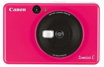 Canon Zoemini C digitale 5 MP Sofortbildkamera (Sucher, Blitzlicht, Micro-SD Kartenslot, Selfie Spiegel (11x8 mm), 5 x 7,6 cm Aufkleber, ZINK-Druck tintenfrei), bubble gum pink - 1