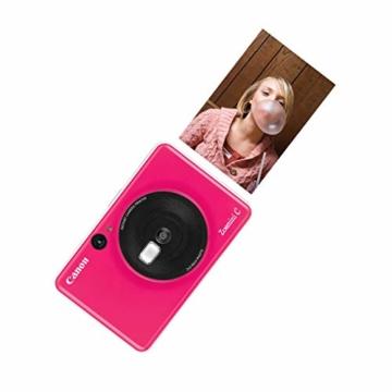 Canon Zoemini C digitale 5 MP Sofortbildkamera (Sucher, Blitzlicht, Micro-SD Kartenslot, Selfie Spiegel (11x8 mm), 5 x 7,6 cm Aufkleber, ZINK-Druck tintenfrei), bubble gum pink - 4