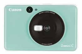 Canon Zoemini C digitale 5 MP Sofortbildkamera (Sucher, Blitzlicht, Micro-SD Kartenslot, Selfie Spiegel (11x8 mm), 5 x 7,6 cm Aufkleber, ZINK-Druck tintenfrei), mint green - 1